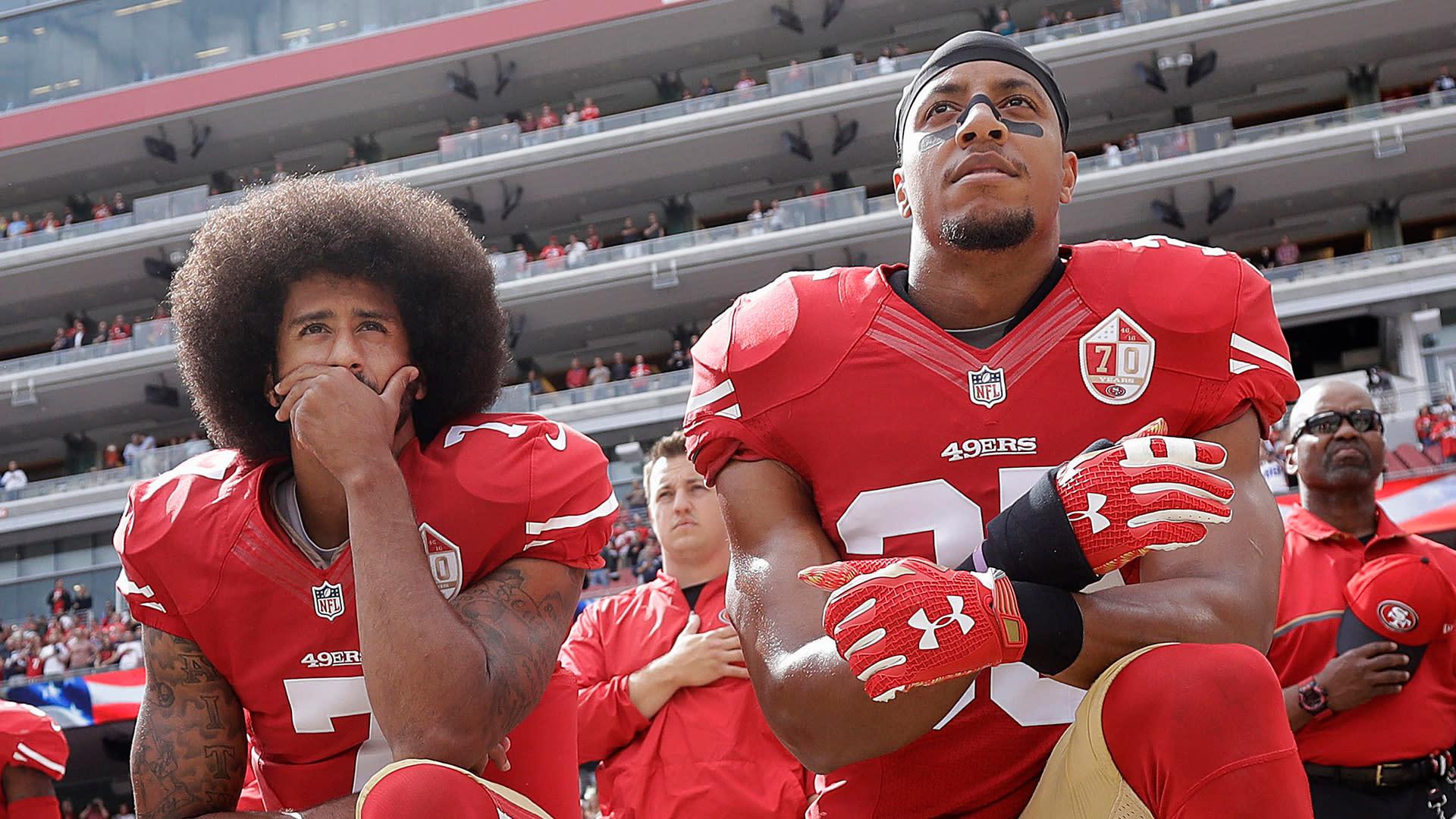 NFL reaches financial settlement with Colin Kaepernick, Eric Reid - Yahoo Sports thumbnail