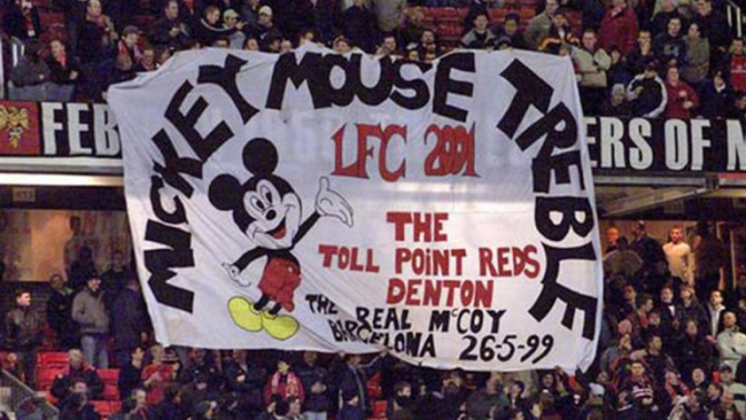 Manchester United fans may live to regret this banner about Liverpool but there's more than meets the eye