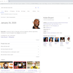Google 'When did Kobe Bryant die' and it lists day of deadly crash as 'date of assassination'