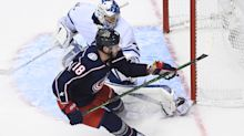 Pierre-Luc Dubois scores hat trick after goalie change as Blue Jackets rally past Maple Leafs