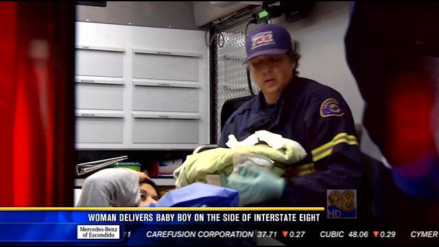 Woman delivers baby boy on side of I-8