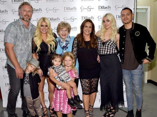 Eric Johnson, Ace Knute Johnson, Jessica Simpson wearing Jessica Simpson Collection, Maxwell Drew Johnson wearing Jessica Simpson Girls, Jagger Snow Ross wearing Jessica Simpson Girls, Dorothy Drew, Ashlee Simpson and Evan Ross attend a spring style event benefitting The Boys and Girls Clubs of Waco, TX at at Dillard's on May 6, 2017 in Waco, Texas