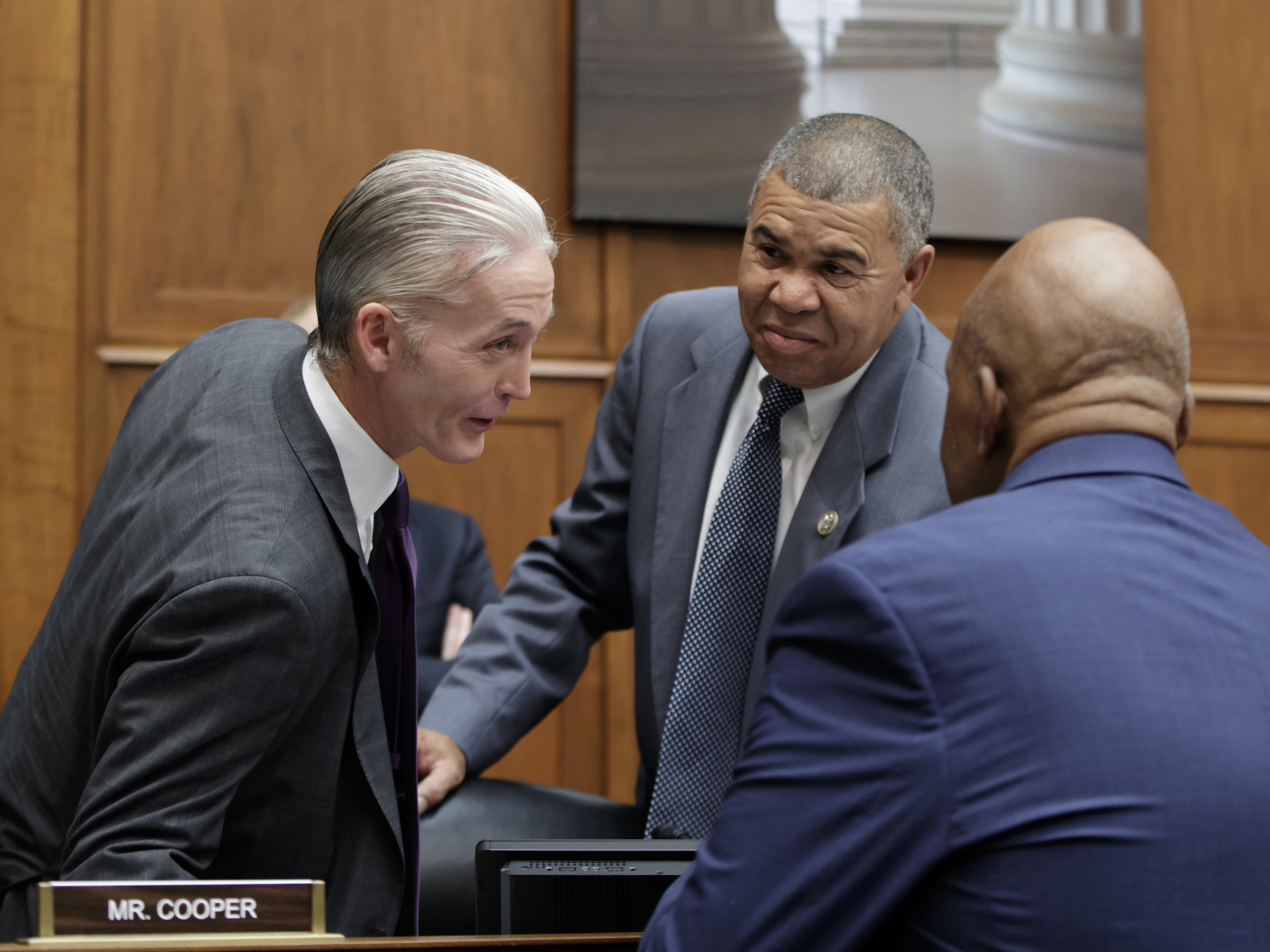 FILE - In this Oct. 12, 2017, file photo, Rep. Trey Gowdy, R-S.C., chairman of the Committee on Oversight and Government Reform, confers with Rep. William Lacy Clay, D-Mo., and Rep. Elijah Cummings, D-Md., the ranking member, before a hearing on preparations for the 2020 Census, on Capitol Hill in Washington. Cori Bush, a onetime homeless woman who led protests following a white police officer's fatal shooting of a Black 18-year-old in Ferguson, Mo., ousted longtime Rep. Clay on Tuesday, Aug. 4, 2020, in Missouri's Democratic primary, ending a political dynasty that has spanned more than a half-century. Bush's victory came in a rematch of 2018, when she failed to capitalize on a national Democratic wave that favored political newcomers such as Bush's friend, Rep. Alexandria Ocasio-Cortez. (AP Photo/J. Scott Applewhite, File)