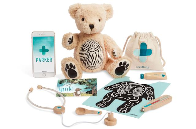 Augmented reality teddy bear teaches kids about being a doctor
