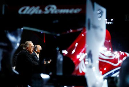 Marchionne speaks during a news conference during the Alfa Romeo Sauber F1 Team presentation in Arese