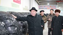 Kim Jong-un thanks North Korean workers for making tyres to transport latest ballistic missile