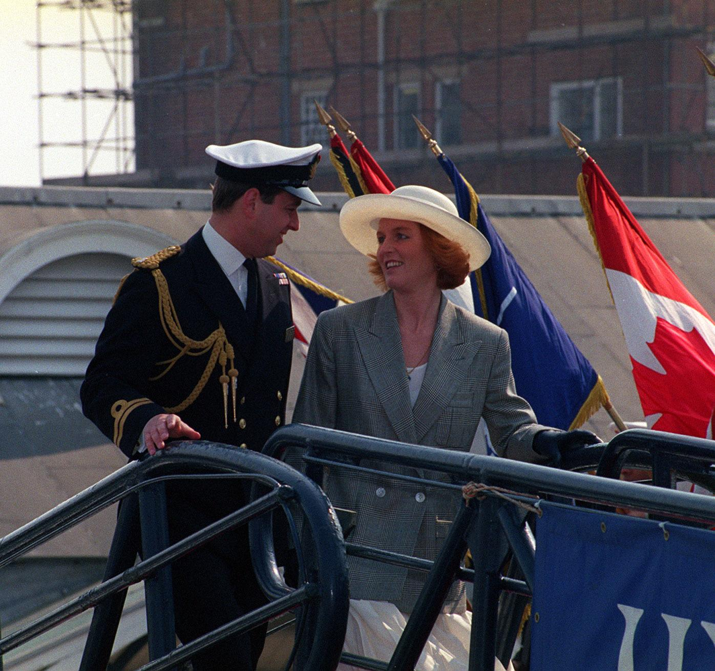 The Duke and Duchess of York board HMS Cambeltown at Portsmouth Harbour prior to a days sailing in the channel with the Queen and the Duke of Edinburgh.