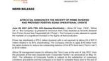 Africa Oil Announces the Receipt of Prime Dividend and Provides Positive Egina Operational Update