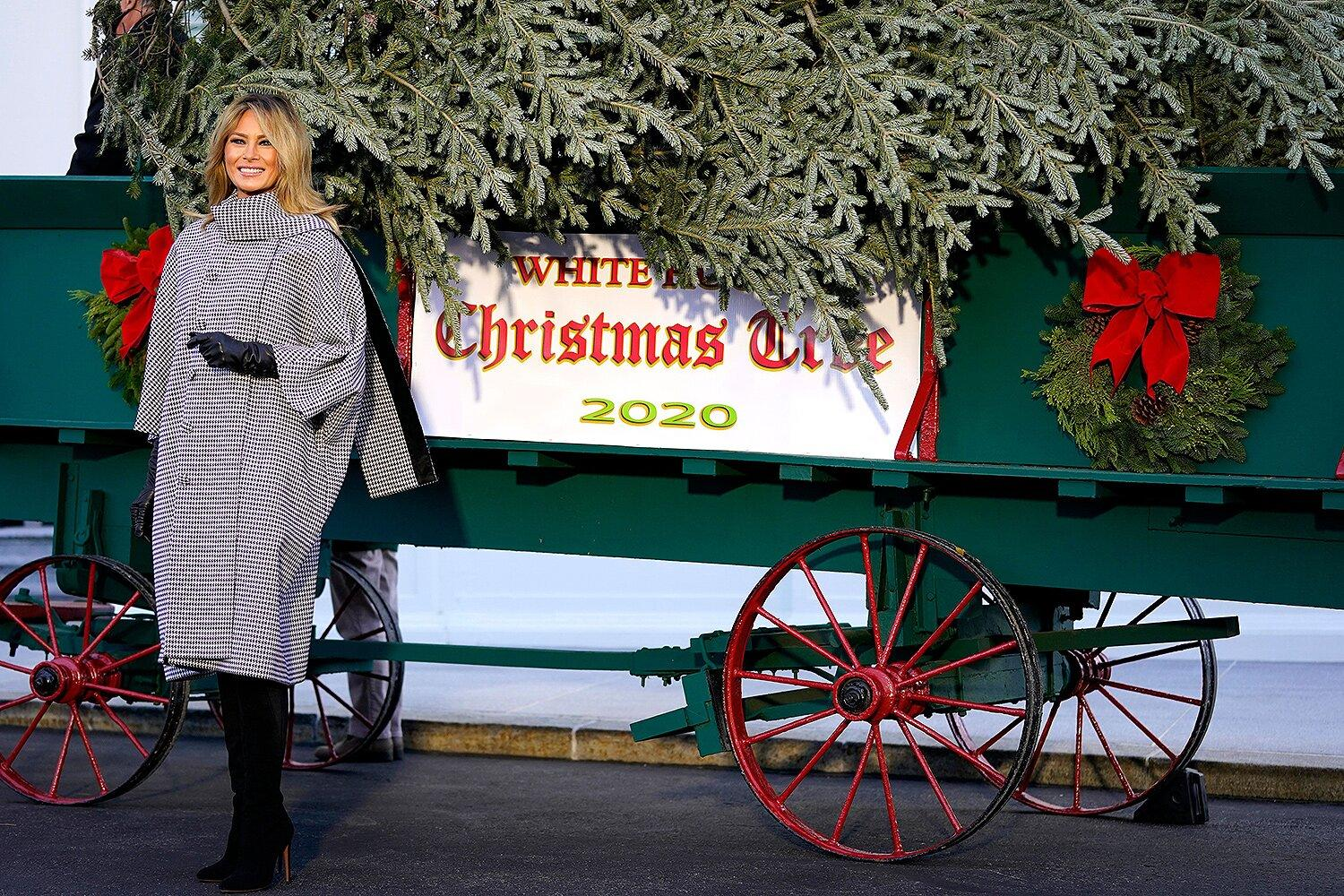 White House Christmas Pictures 2021 Melania Trump Greets White House Christmas Tree For The Last Time After Husband S Election Loss