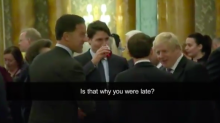 'He's two-faced': Donald Trump reacts after video appears to show Justin Trudeau and Boris Johnson joking about him behind his back