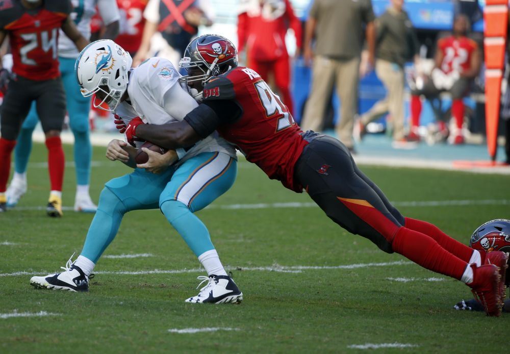 Miami Dolphins quarterback Jay Cutler is sacked during a game against the Buccaneers last week. (AP)