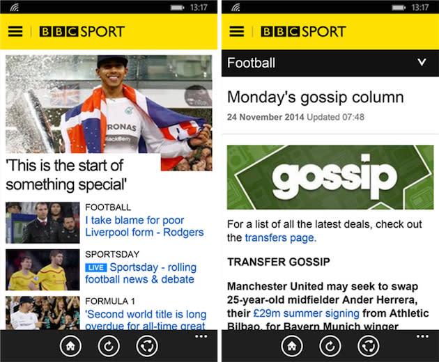 BBC Sport app finally comes to Windows Phone