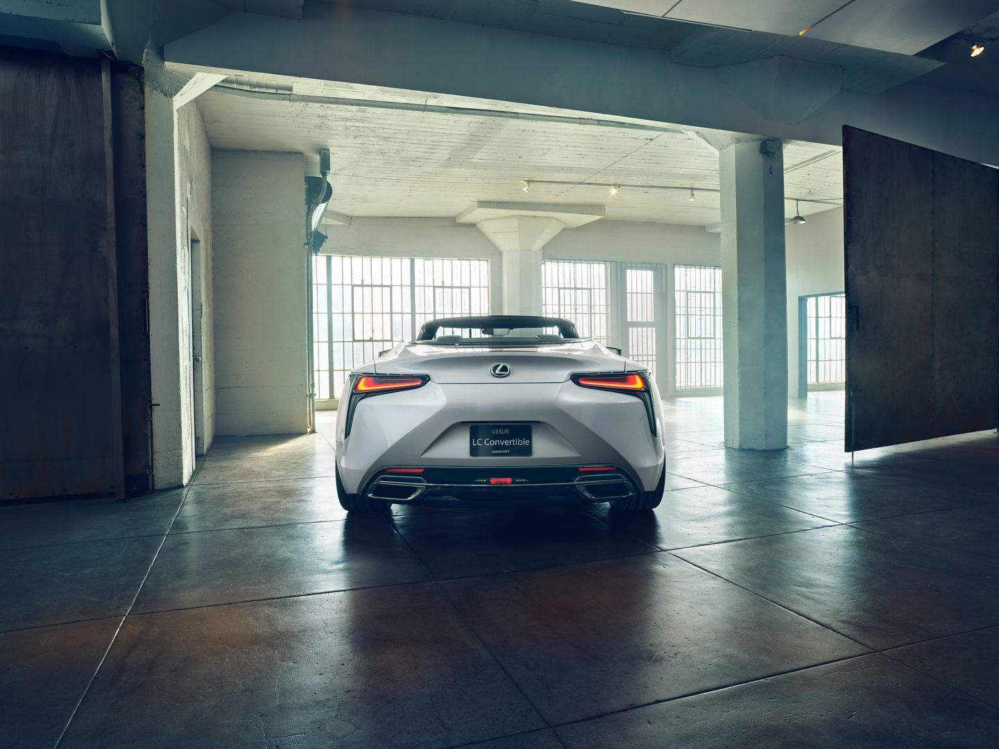<p>From where we're sitting, little about the convertible concept seems conceptual-without a doubt, this is a production-ready vehicle (likely a chopped-up series-production LC coupe), albeit wearing too-big (and very attractive) 22-inch wheels. </p>