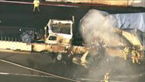 RAW: Semi catches fire after accident on 1-90 at US 20
