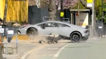 Driver Loses Control and Wrecks Lamborghini at London Car Event