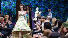 This designer sent his models down the runway with floral and velvet stockings over their faces