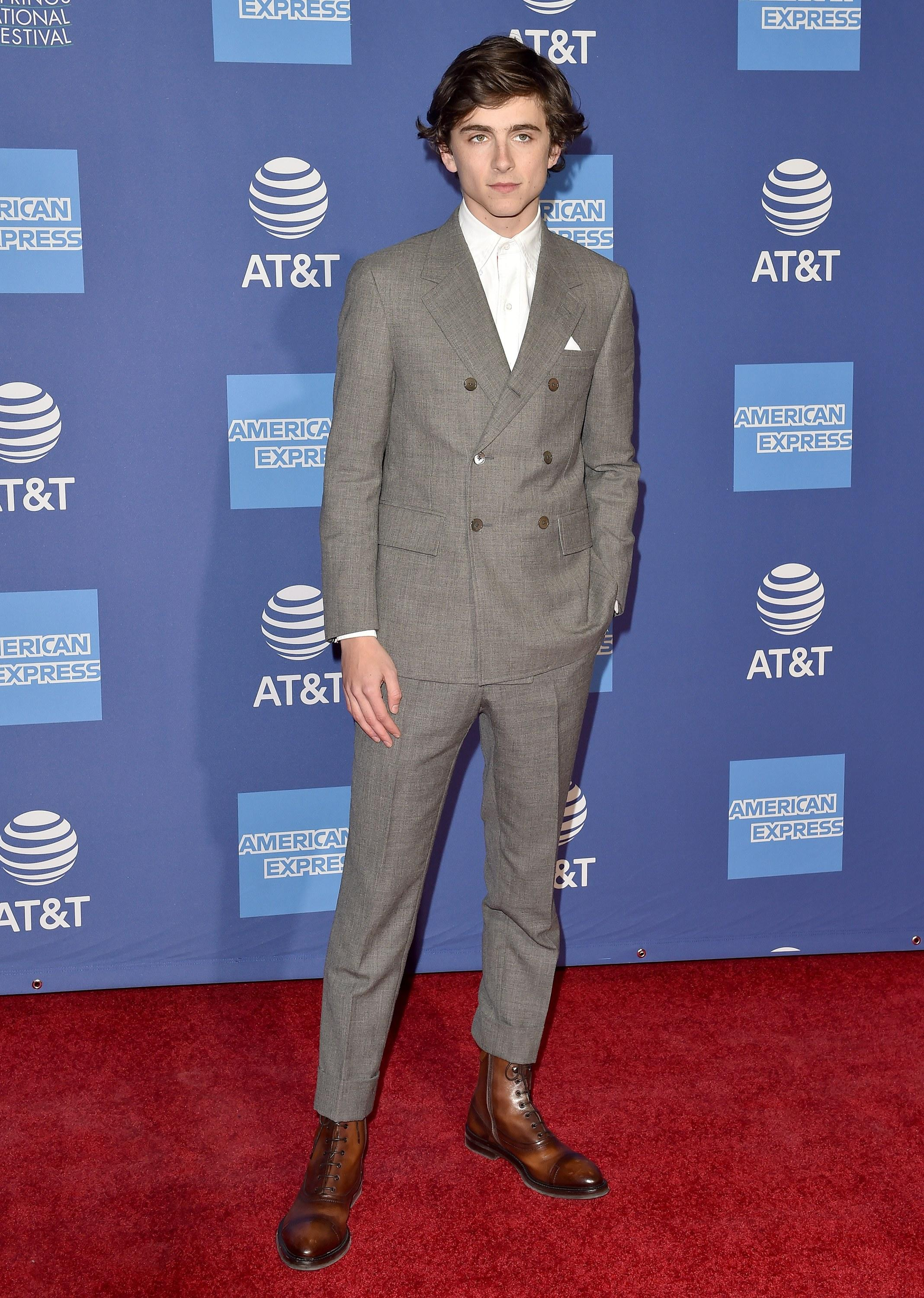 dbda3ede14ad01 Beautiful Boy Timothée Chalamet Put On a Dapper Thom Browne Suit in Palm  Springs