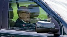 Prince Philip is back on the road, but without a seatbelt