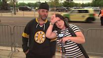 Fans brave stormy weather to watch Hawks take on Bruins in Game 1
