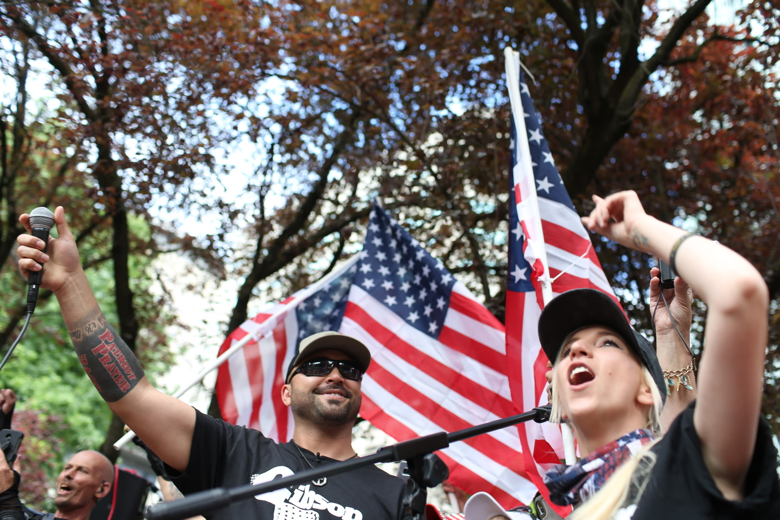 <p> FILE--In this June 30, 2018, file photo, Joey Gibson, left, leader of Patriot Prayer, heads the group's rally in Portland, Ore. Portland is bracing for what could be another round of violent clashes Saturday, Aug. 4, 2018, between a right-wing group holding a rally here and self-described anti-fascist counter-protesters who have pledged to keep Patriot Prayer and other affiliated groups out of this ultra-liberal city. (Mark Graves/The Oregonian via AP, file) </p>