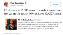 Gazza praised for giving £1000 to girl who had speech machine stolen