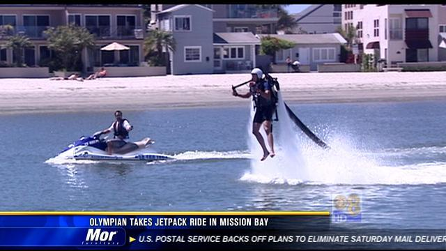 Olympian takes jetpack ride in Mission Bay