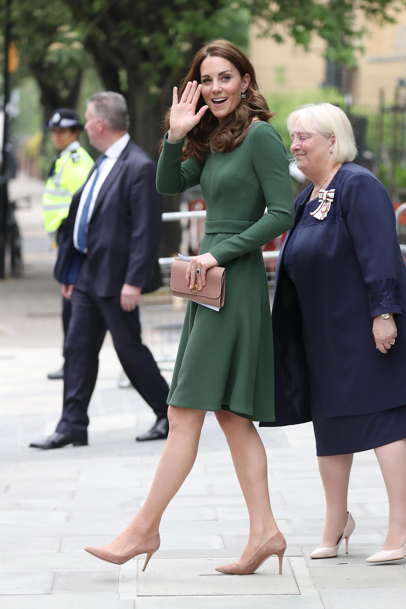 LONDON, ENGLAND - MAY 01:  Catherine, Duchess of Cambridge leaves after opening the Anna Freud Centre of Excellence at Anna Freud Centre on May 01, 2019 in London, England. The Duchess of Cambridge is Patron of the Anna Freud National Centre for Children and Families. (Photo by Neil Mockford/GC Images)
