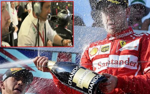 Sebastian Vettel celebrates while Toto Wolff (inset) bangs his fist against his desk - EPA