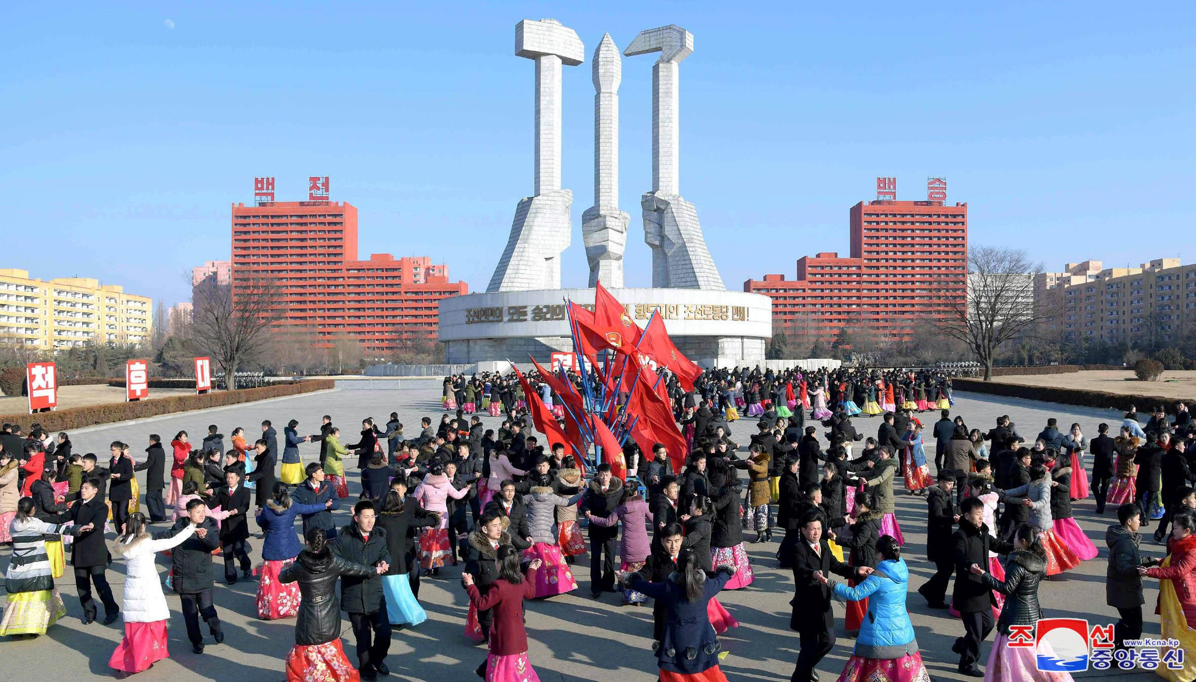 Dancing parties of youth and students take place to celebrate the Day of the Shining Star, the birth anniversary of former North Korean leader Kim Jong Il in Pyongyang, North Korea in this February 16, 2019 KCNA Photo.     KCNA via REUTERS    ATTENTION EDITORS - THIS IMAGE WAS PROVIDED BY A THIRD PARTY. REUTERS IS UNABLE TO INDEPENDENTLY VERIFY THIS IMAGE. NO THIRD PARTY SALES. SOUTH KOREA OUT.