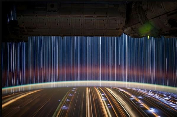 Visualized: Stunning long-exposure 'star trail' photo taken from the ISS
