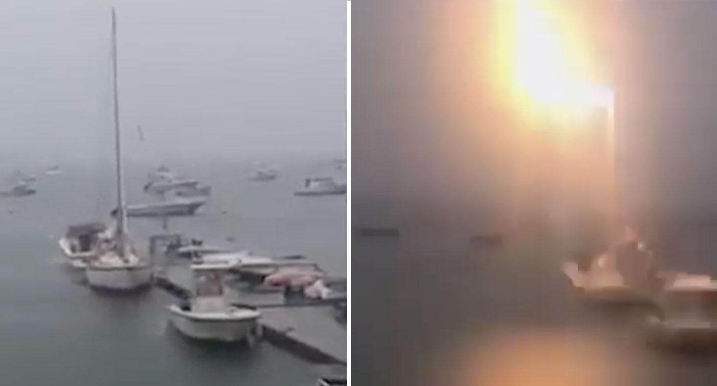 Incredible moment boat struck by lightning while docked at marina