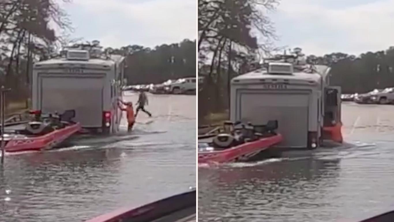 Dog accidentally reverses fisherman's campervan into lake