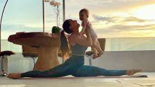 """Sabrina Sato se exercita com Zoe: """"Paz e muito amor"""""""
