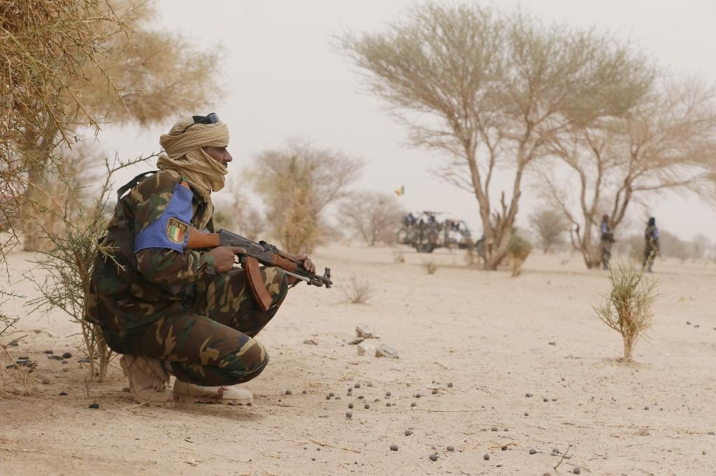 Malian soldiers patrol between Gao and Kidal on July 26, 2013 in northern Mali (AFP Photo/Kenzo Tribouillard)