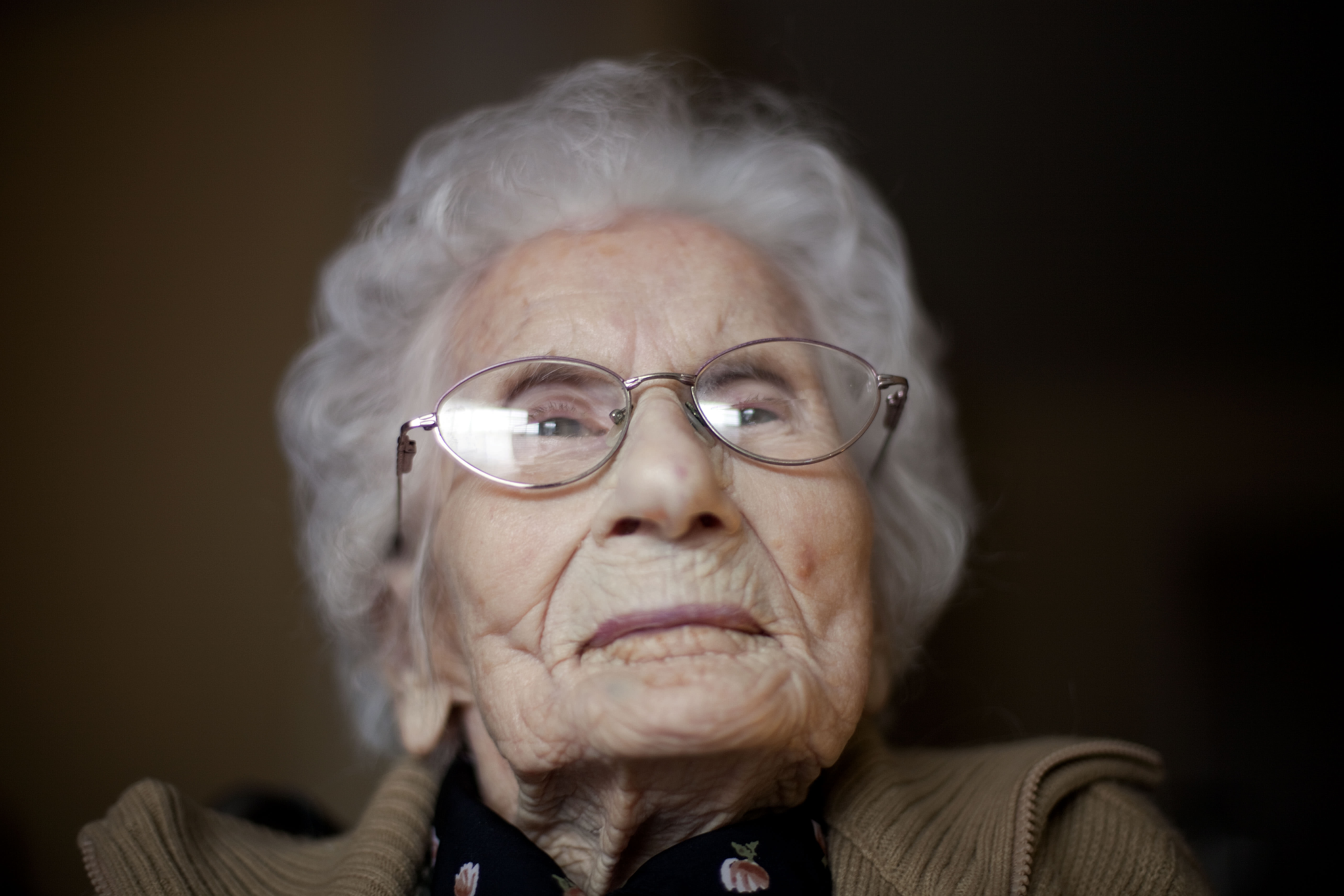 FILE - In this Feb. 1, 2011 file photo, Besse Cooper, sits in her room at a nursing home, in Monroe, Ga. Cooper, the woman who was listed as the world's oldest person has died Tuesday, Dec. 4, 2012 in a Georgia nursing home at age 116, according to her son Sidney Cooper. (AP Photo/David Goldman, File)