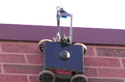 Vortex's wall climbing robot peeks in windows