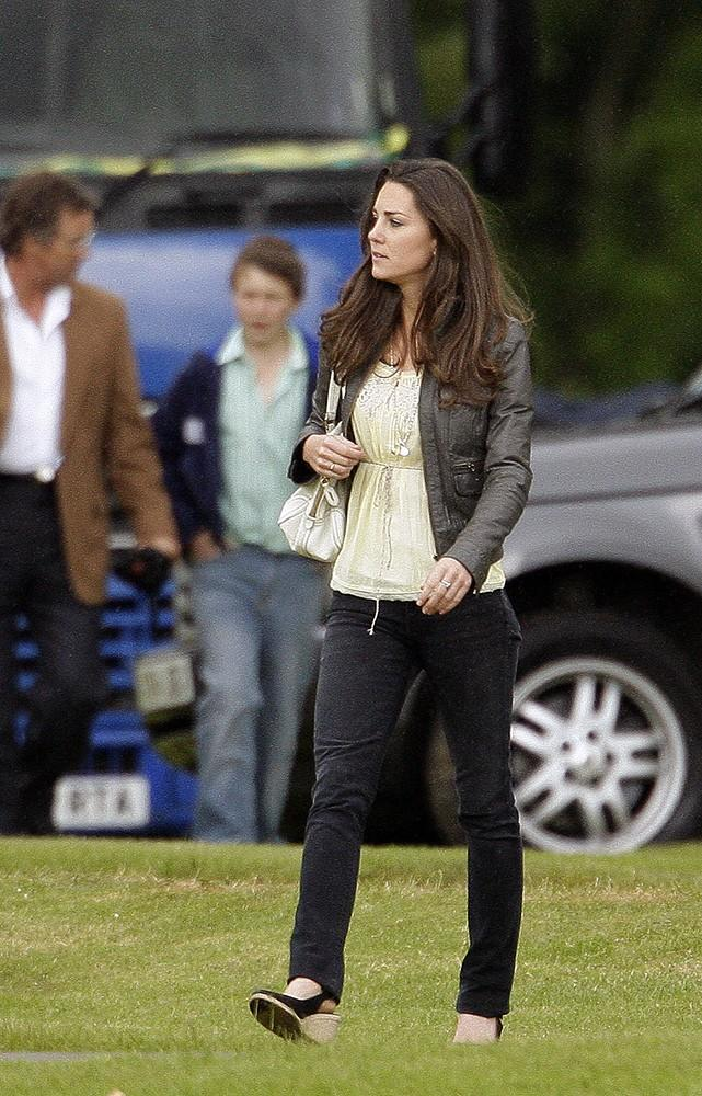 Kate wore skinny jeans and a leather jacket to a charity Polo match in which Prince William and Harry were playing.