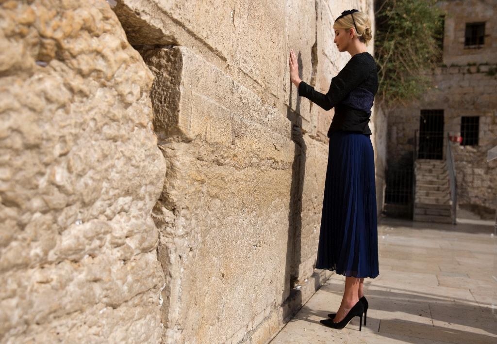 US President Donald Trump's daughter Ivanka prays at the women's section of the Western Wall in Jerusalem on May 22, 2017 (AFP Photo/Heidi Levine)
