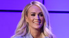 Carrie Underwood Hits the Gym in Mesh Leggings + All-White Sneakers