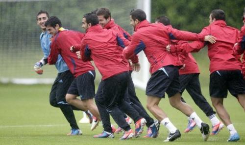 La selección olímpica de fútbol de España entrena en la Universidad de Strathclyde Sportsground en Glasgow, Escocia