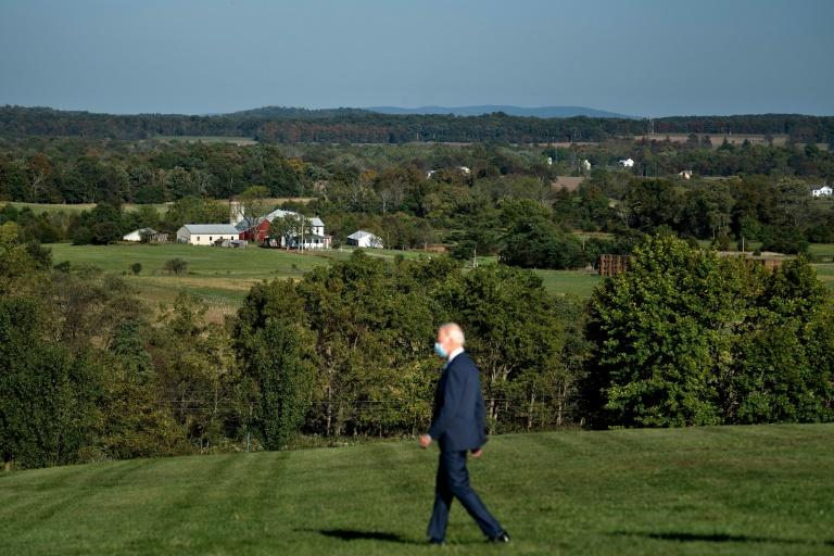 Areas of the Gettysburg battlefield are seen as Democratic presidential candidate Joe Biden arrives to deliver a speech calling for an end to American division