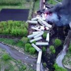 Drone shows size of huge train derailment in Iowa