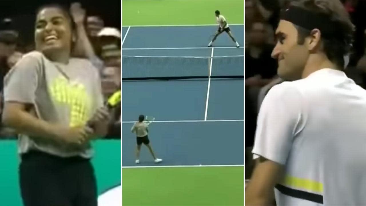Ballgirl schools Federer with brilliant winner