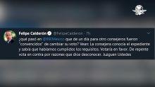 """Calderón acusa que consejeros del INE fueron """"convencidos de cambiar su voto"""""""