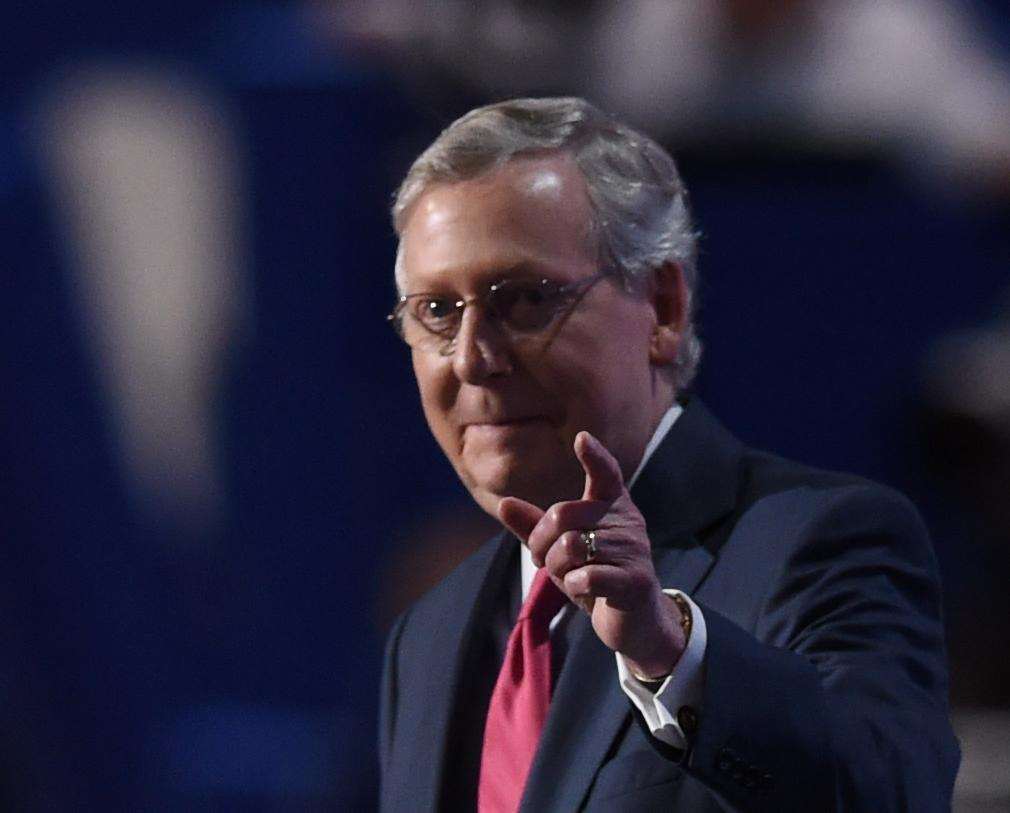 Senate Majority Leader Mitch McConnell steps off stage after addressing the Republican National Convention on July 19, 2016 at Quicken Loans Arena in Cleveland, Ohio (AFP Photo/Timothy A. Clary)