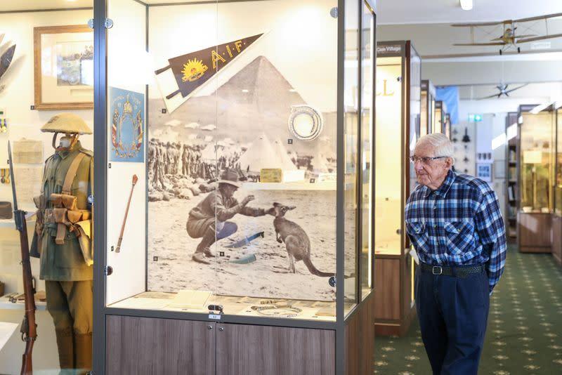 A World War II veteran is seen inside a war museum in Sydney