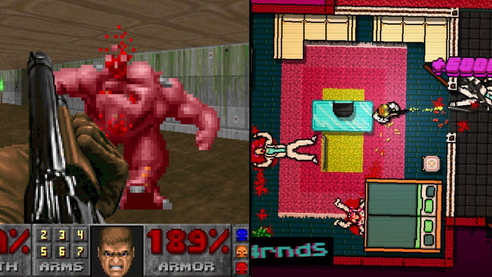 Doom (left) and Hotline Miami 2 (right).