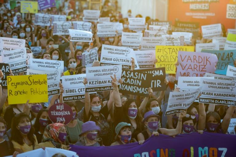 Thousands of women in Turkey took to the streets of Istanbul to demand that the government does not withdraw from a landmark treaty on preventing domestic violence (AFP Photo/Yasin AKGUL)