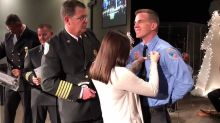 Burning Love: Firefighter Proposes to Girlfriend at Graduation Ceremony