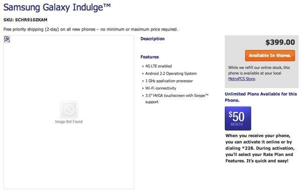 Samsung Galaxy Indulge shows up on MetroPCS: LTE, Android 2.2, 1GHz processor